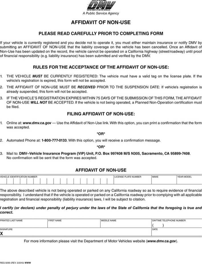 California Affidavit of Non-Use Download Free  Premium Templates