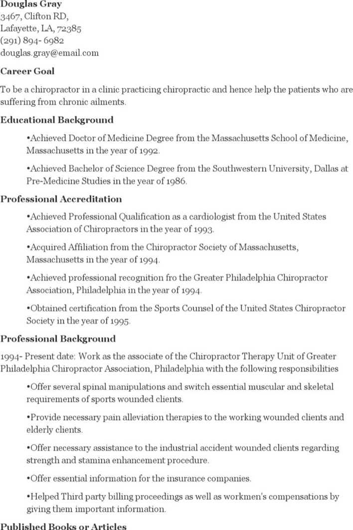 Chiropractor Resume Images - resume format examples 2018