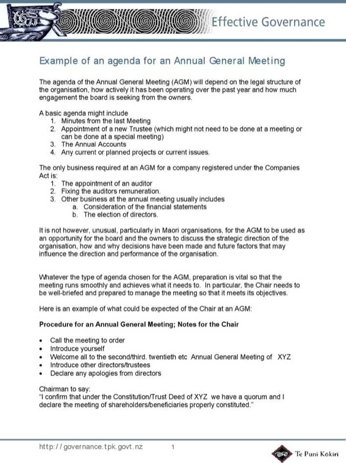 Annual Agenda Annual General Meeting Notice Agenda Notice Of Annual - meeting outline template