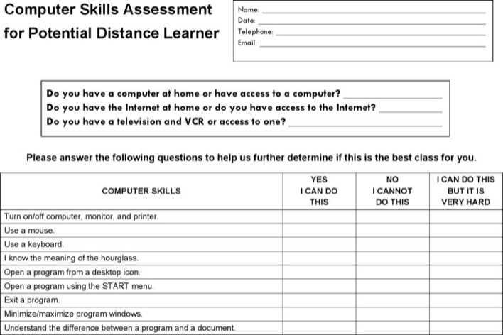 Computer Skills Assessment Template Download Free  Premium - skills assessment template