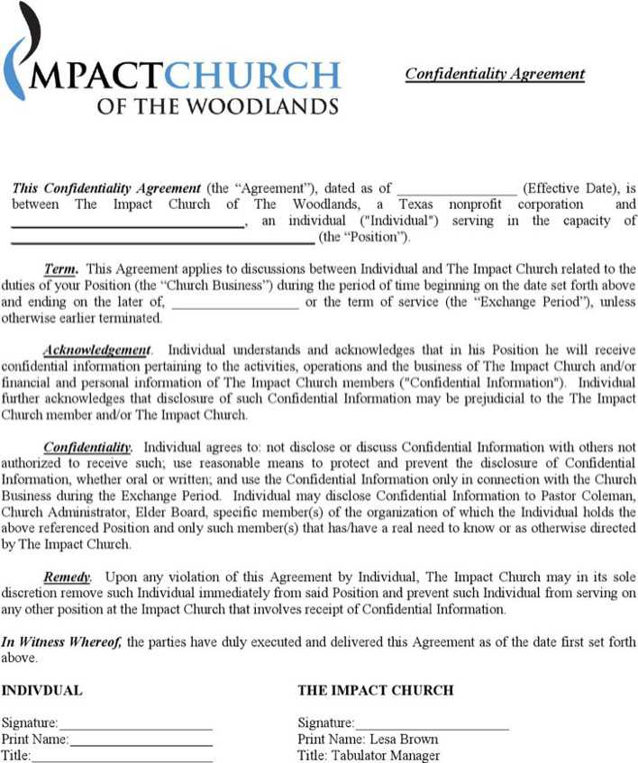 Example Financial Business Confidentiality Agreement Download Free