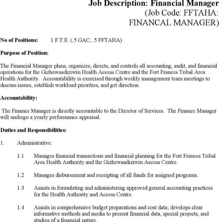 Fein Financial Manager Job Description Bilder - Bilder für das