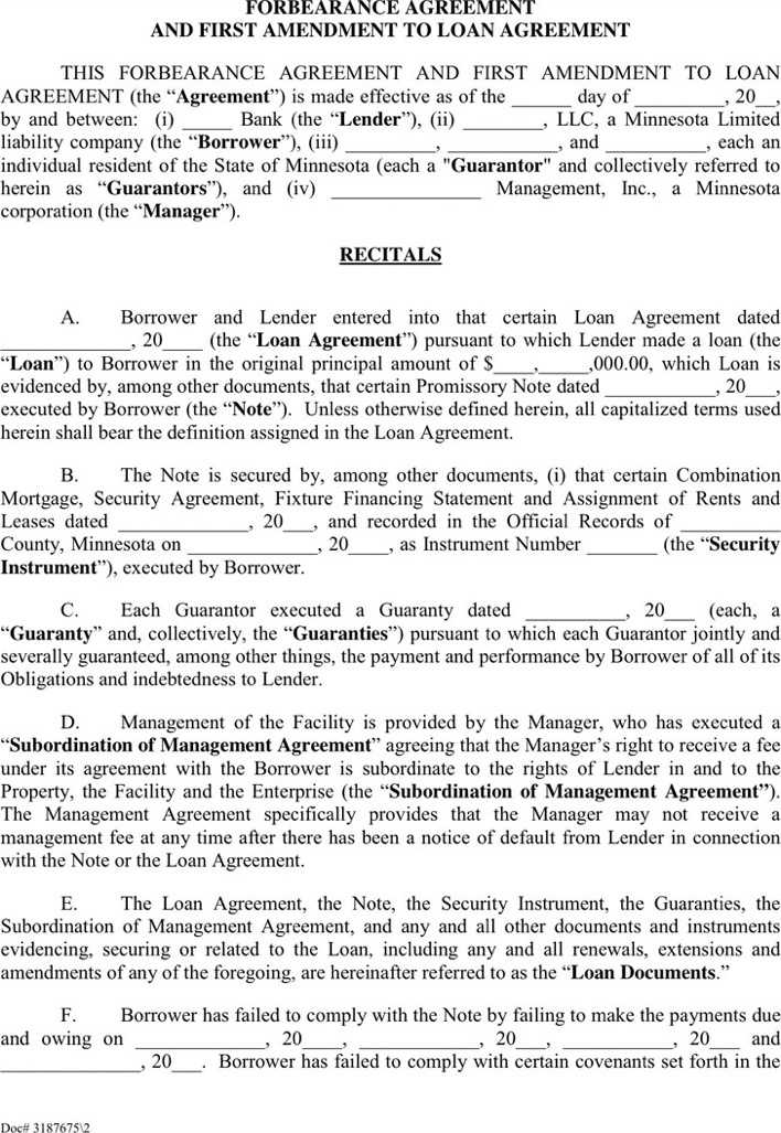 Outstanding Forbearance Agreement Template Pattern - Administrative