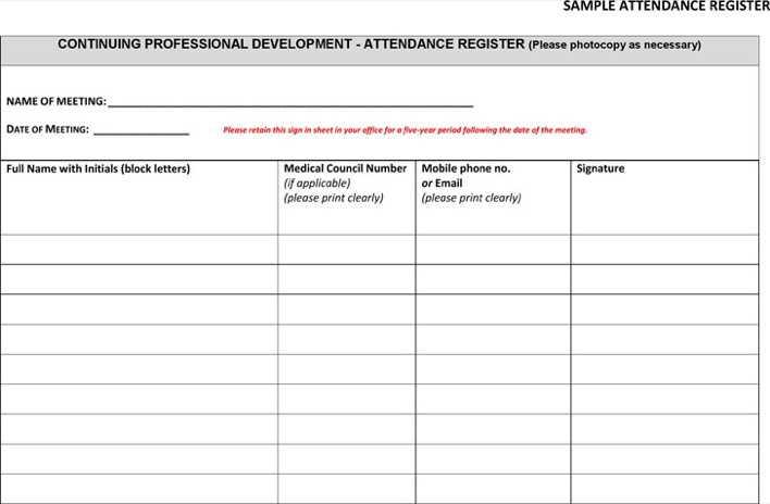 Attendance Register Sample [Template.billybullock.us ]