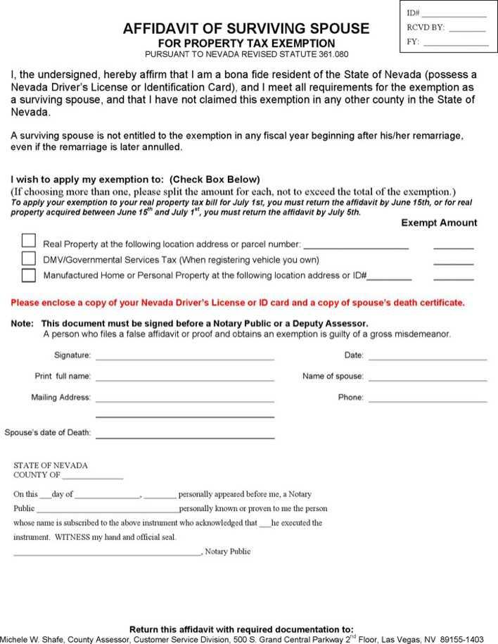 Nevada Affidavit of Surviving Spouse for Property Tax Exemption Form - tax exemption form