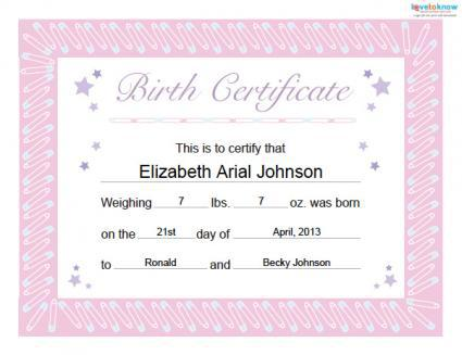 Printable Free Birth Certificate Template Download Free  Premium
