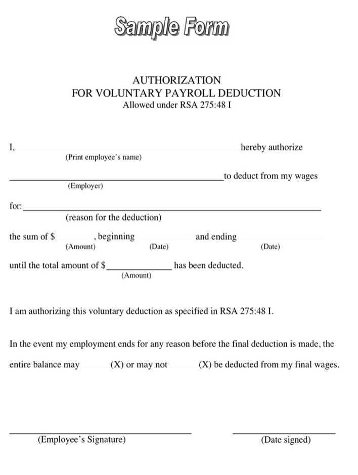 Sample Authorization for Voluntary Payroll Deduction Form Download