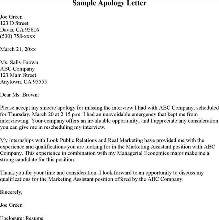 Format Of Apology Letter formal excuse letter example excuse – Formal Apology Letter Example