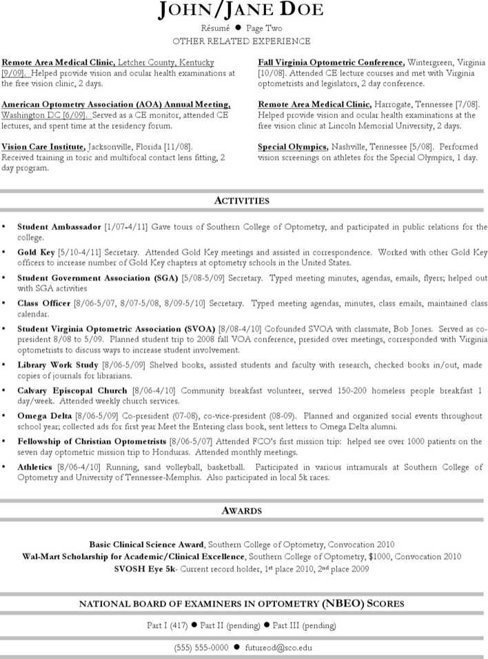 Optometrist Resume Optometrist Resume Samples Visualcv Resume