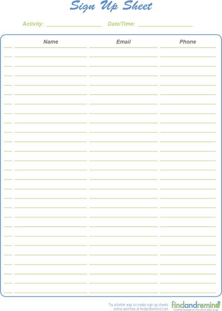 sign up sheet template pdf