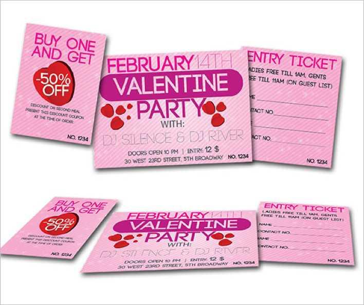 Valentine Dance Party Ticket Template Download Free  Premium