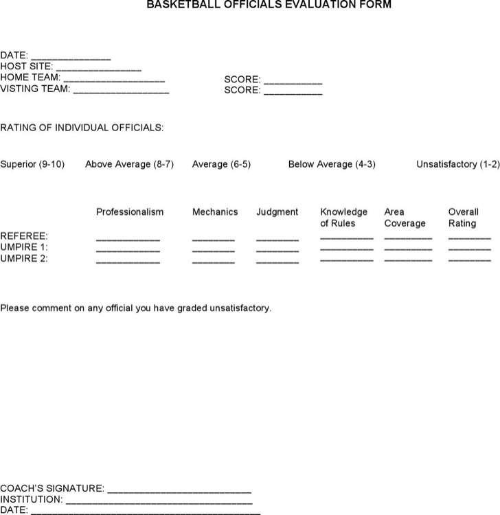 Free Basketball Evaluation Forms Download Free  Premium Templates