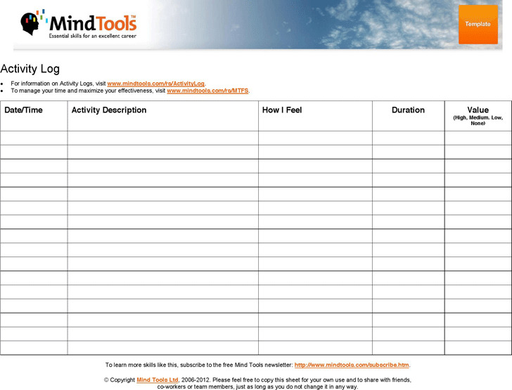 Activity Log Template Download Free  Premium Templates, Forms