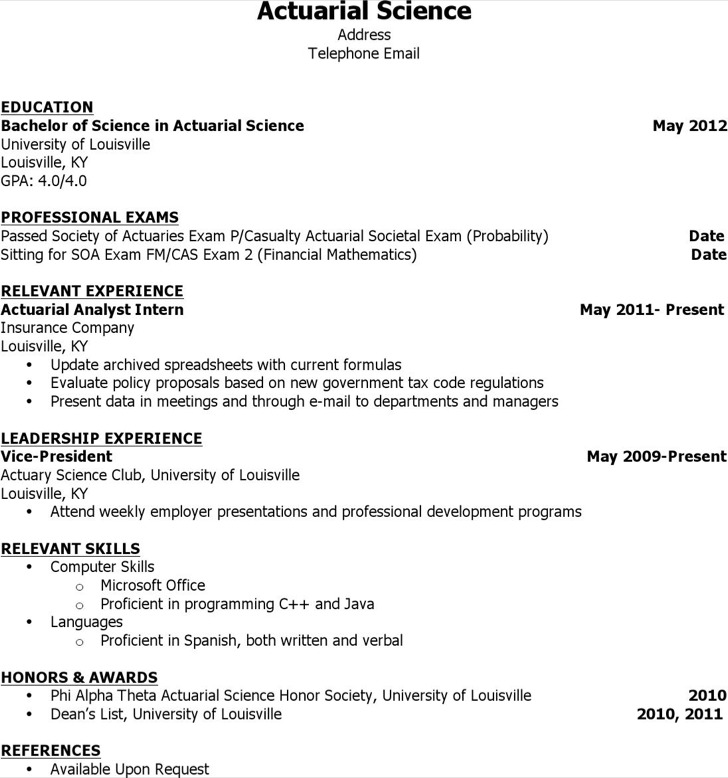 Actuary Resume  Actuarial Science Resume