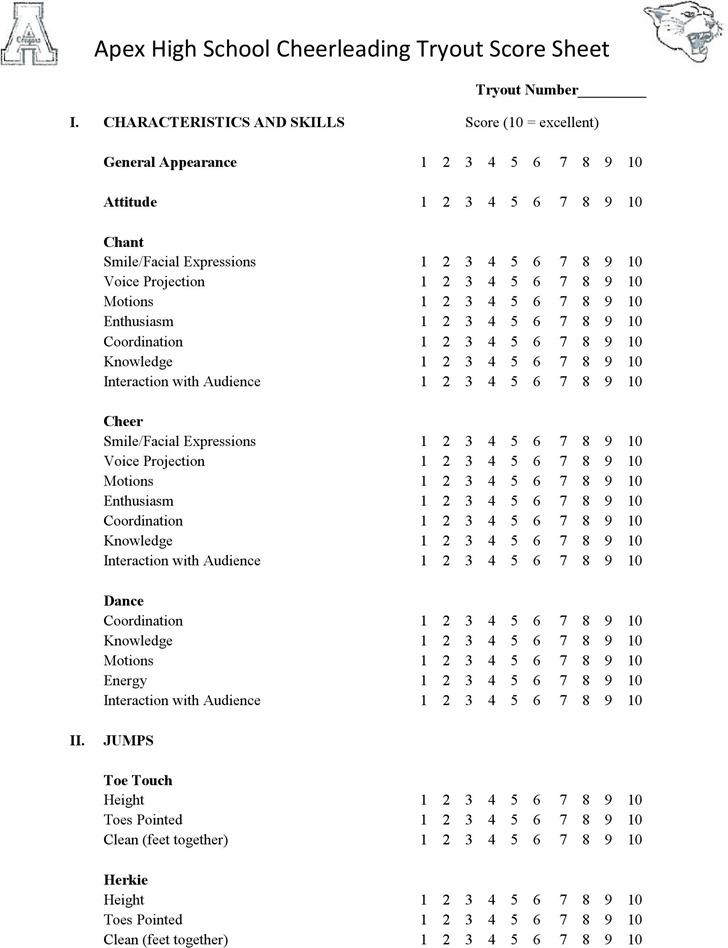 Cheerleading Tryout Score Sheet Download Free  Premium Templates - sample interview score sheet