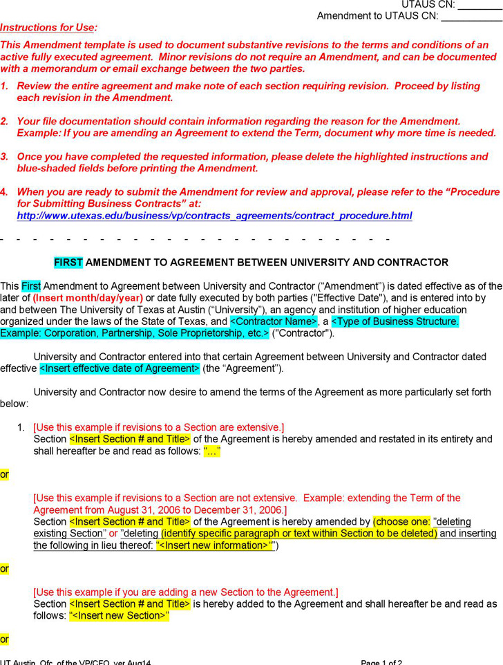 Sample Amendment To An Existing Contract Sample Amendment To Contract Nolo Contract  Amendment Template Download Free