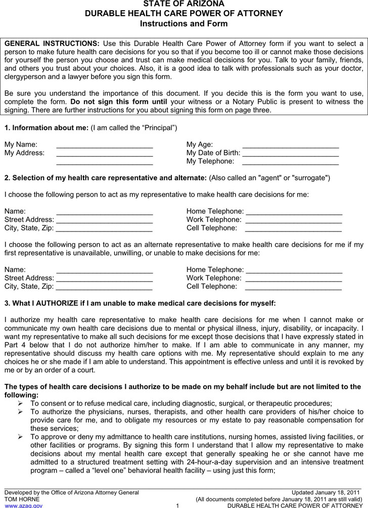 Arizona Power of Attorney Form Download Free  Premium Templates - sample health care power of attorney form
