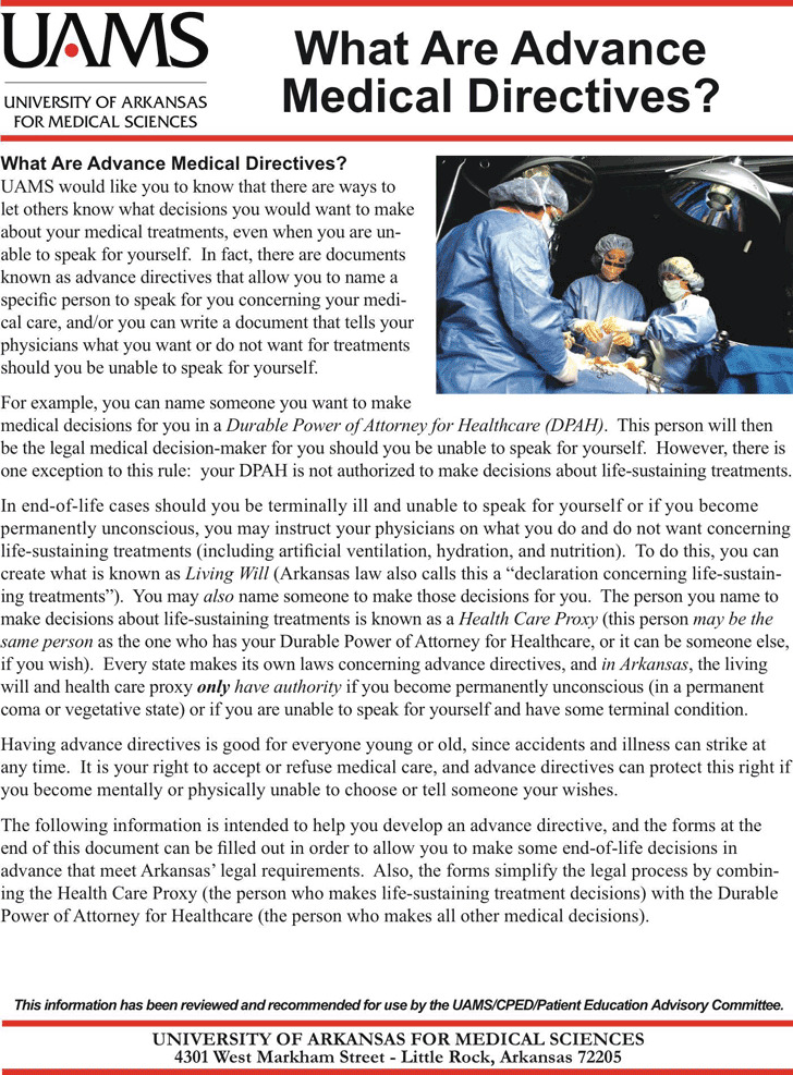 Advance Medical Directive Form Printable Advance Medical Directive