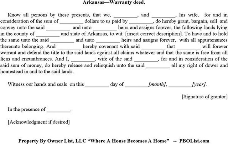 Arkansas Warranty Deed Form Download Free  Premium Templates