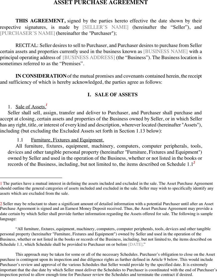 Asset Purchase Agreement Asset Purchase Agreement Template Asset - asset purchase agreement