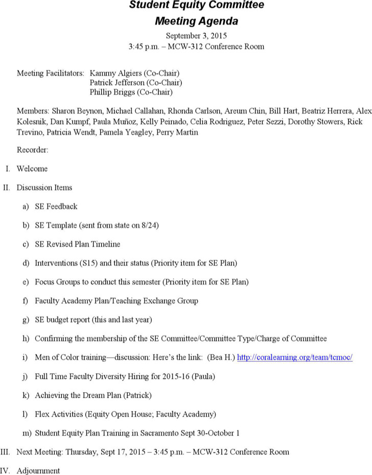Formal Meeting Agenda Templates Download Free  Premium Templates - Agenda Forms