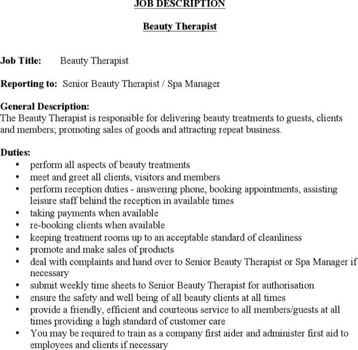 Spa Job Description sample lead esthetician job description job - production supervisor job description