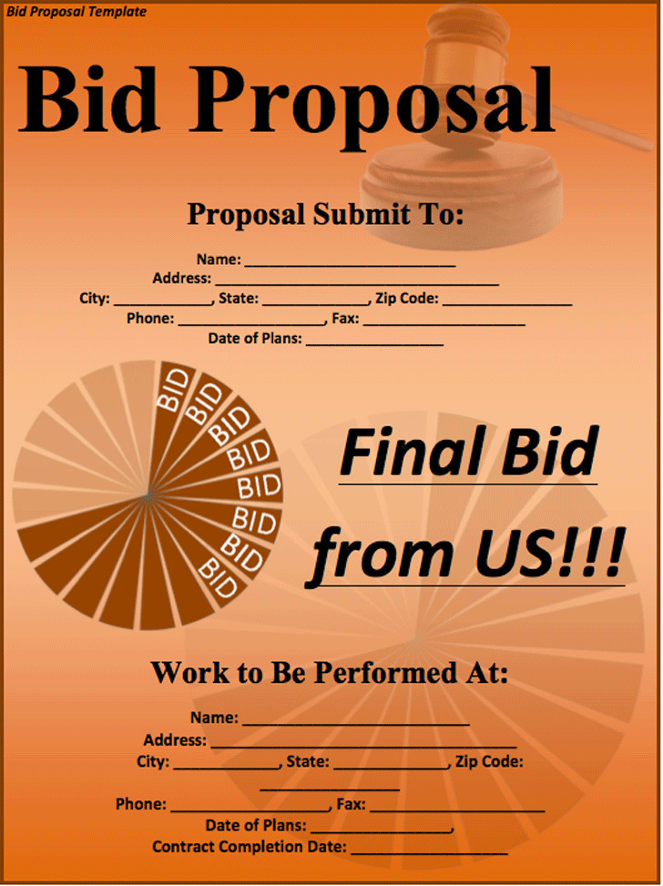 Bid Proposal Template Download Free  Premium Templates, Forms - Bidding Proposal Template