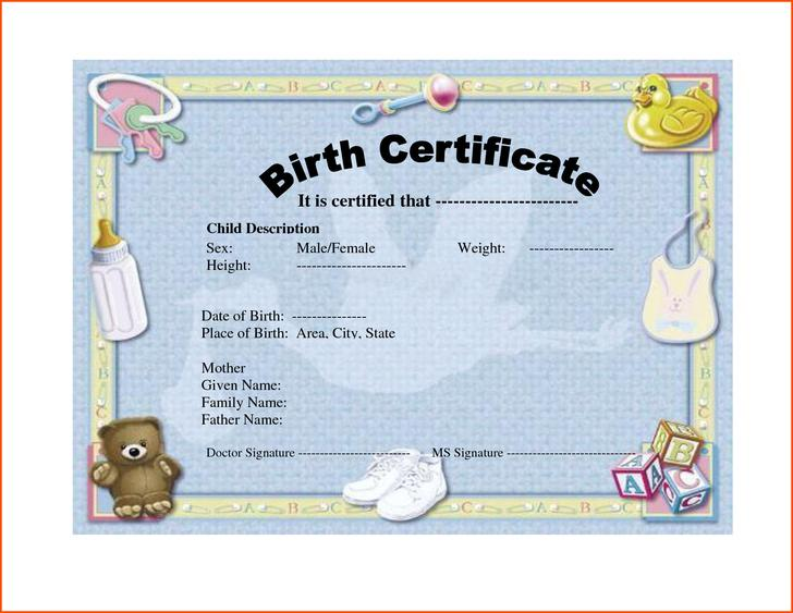 Birth Certificate Template Download Free  Premium Templates