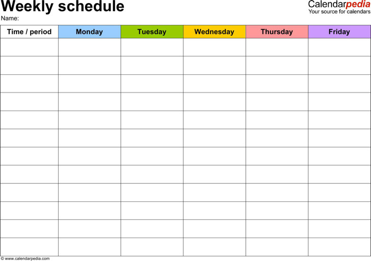 daily weekly schedule template - Roho4senses