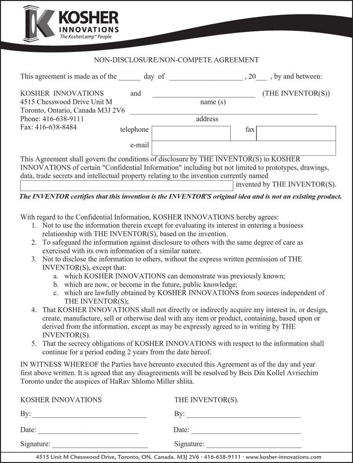 Sample Non-Disclosure Non-Compete Agreements Download Free