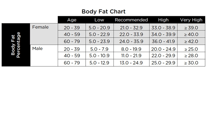 Body Fat Chart Download Free  Premium Templates, Forms  Samples