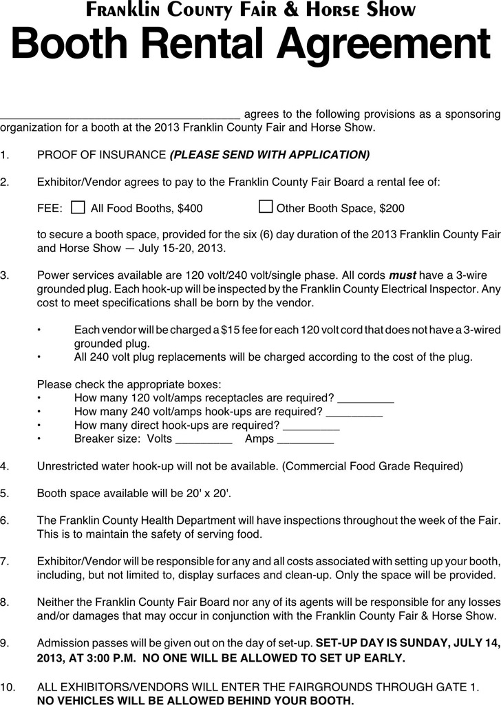 Sample Vendor Agreement - Template Examples - booth rental agreement