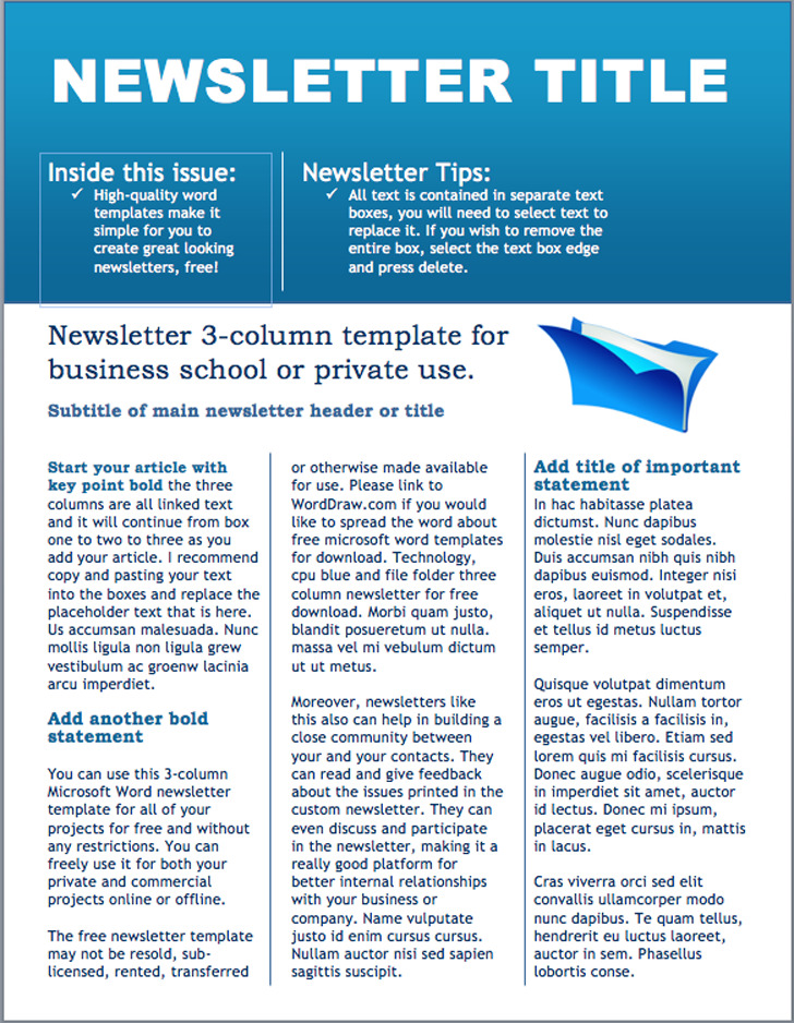 Business Newsletter Template Download Free  Premium Templates - free business newsletter templates