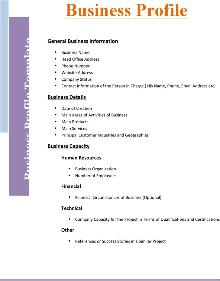 Business Profile Template Download Free  Premium Templates, Forms