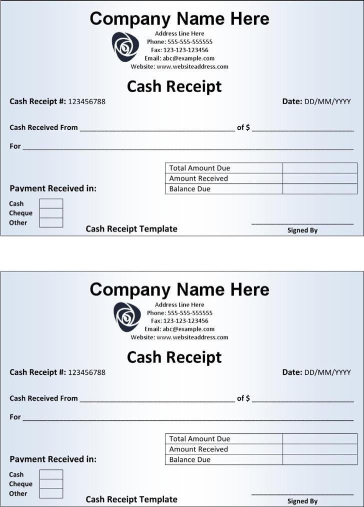 cheque receipt format – Receipt Formats