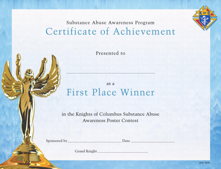 1st Place Award Certificate Template  29 Images of First Place