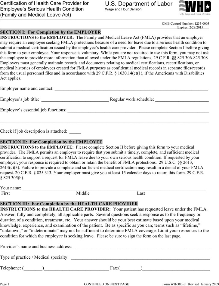 FMLA Form Download Free  Premium Templates, Forms  Samples for