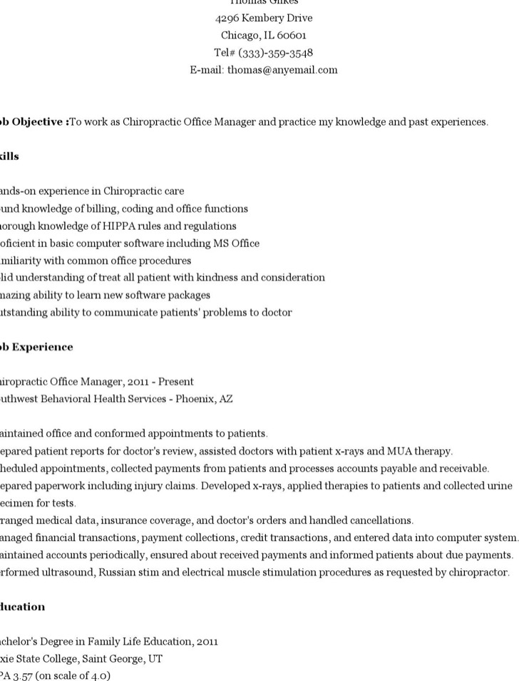 Chiropractic Resume Gallery - resume format examples 2018