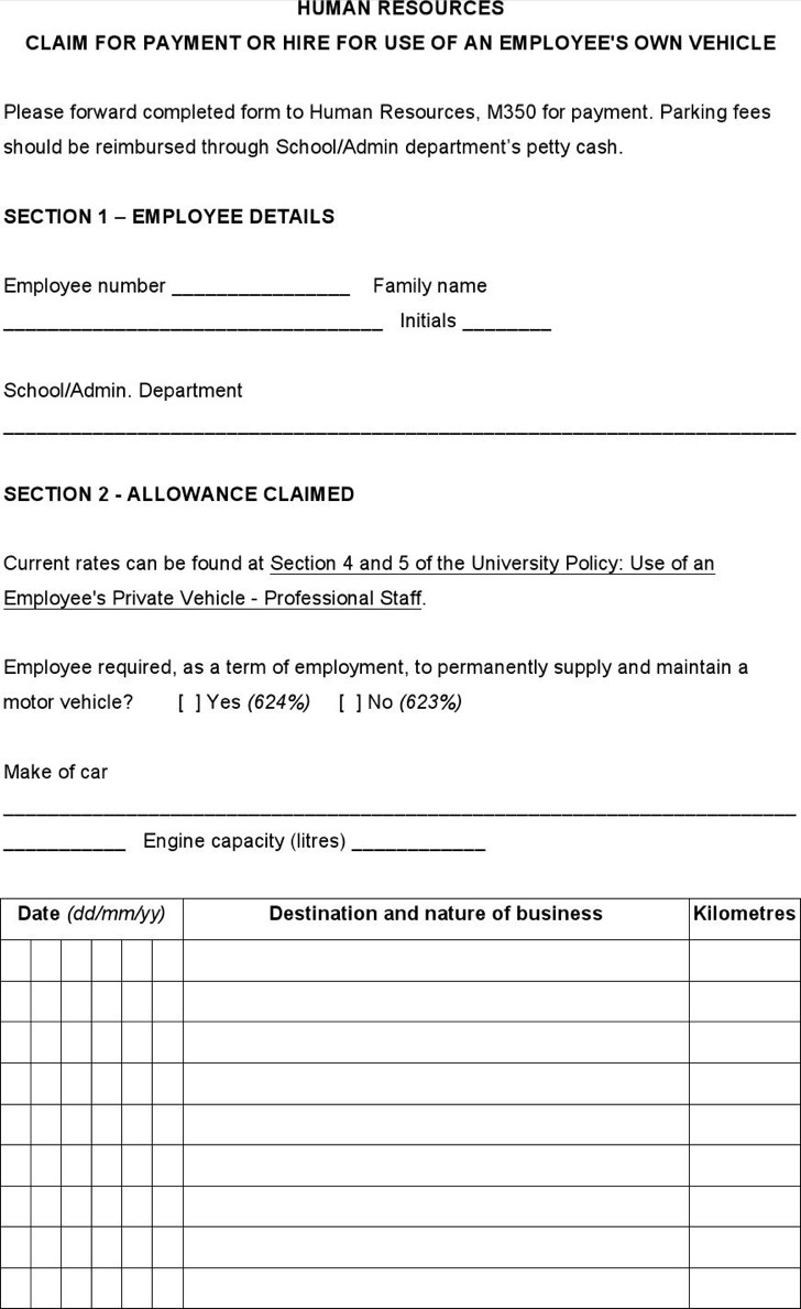 Labor Contract Template Invitation Templates Ticket Forms Claims For Use Of  Private Vehicle Labor Contract Template