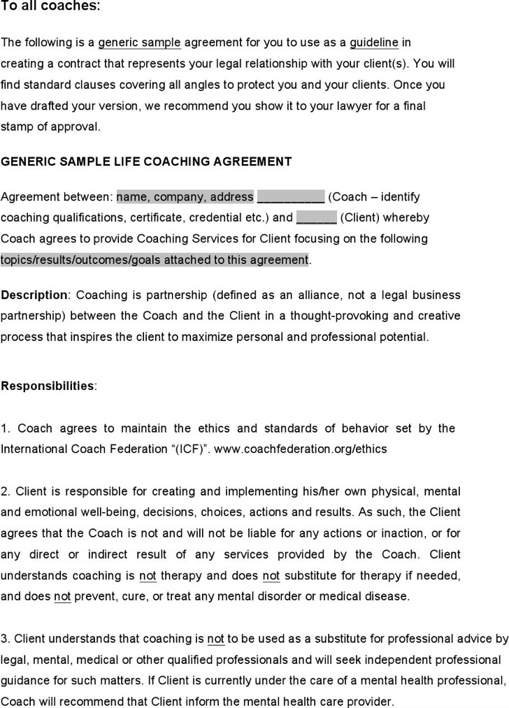 Business Coaching Contract Template internal coaching guide - coaching contract templates