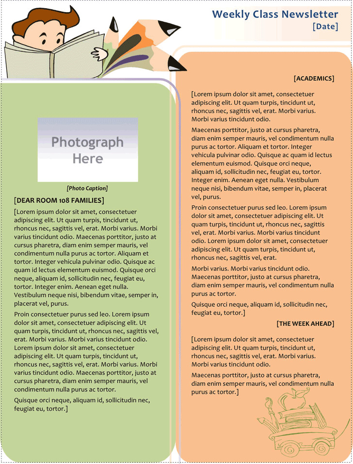 Classroom Newsletter Template Download Free \ Premium Templates - news letter formats