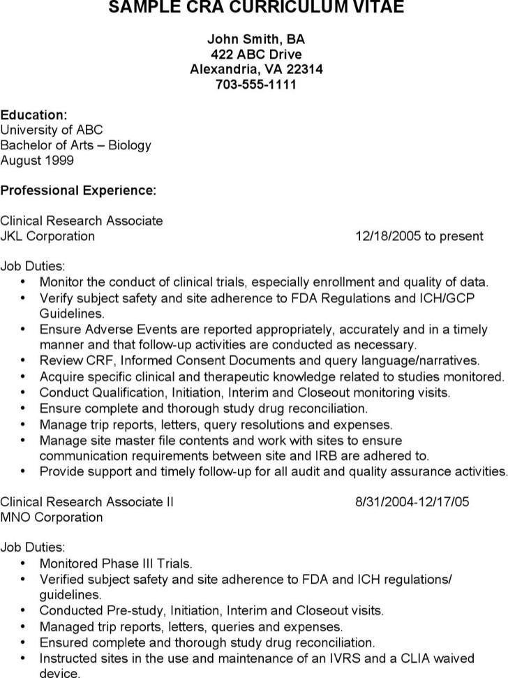 Research Associate Resume Sample curriculum vitae resume template - clinical research resume