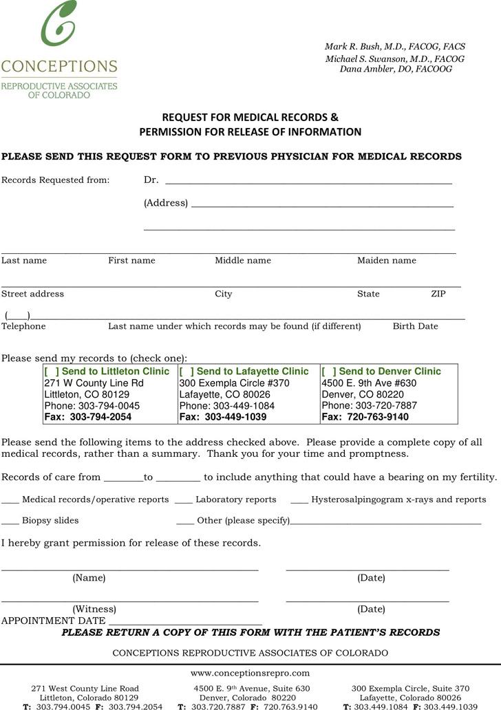 Colorado Medical Records Release Form Download Free - medical records release form