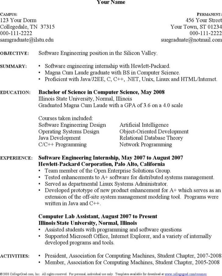 Computer Science Student Resume Cover Letter - computer science resumes