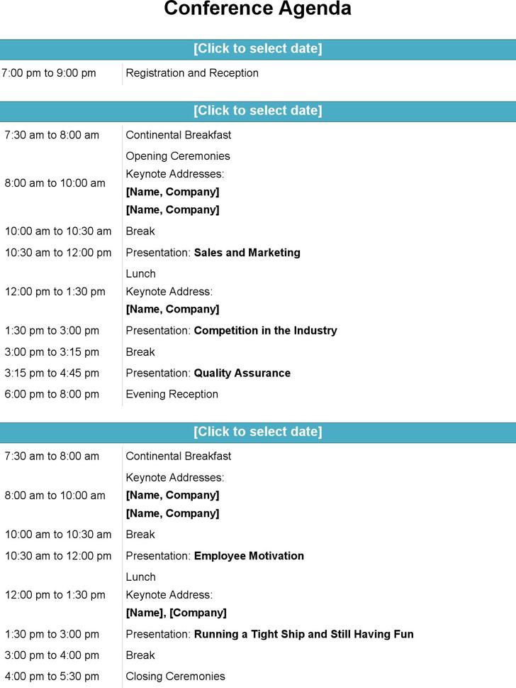 Conference Agenda Template Download Free  Premium Templates