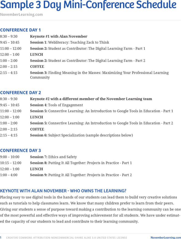 Sample Conference Schedule Template 4 meeting schedule – Sample Conference Schedule Template Example