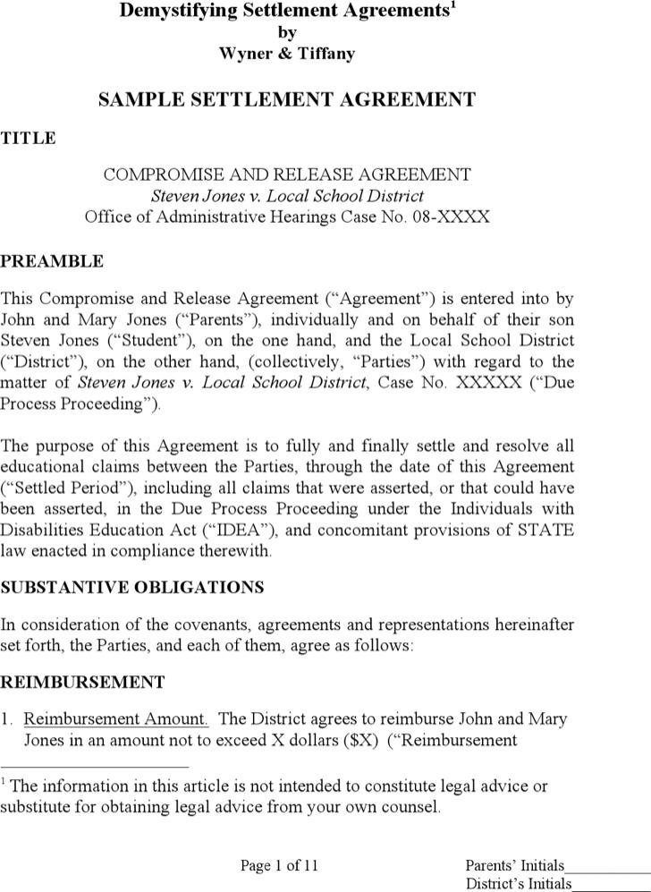 Settlement Agreement Mutual Release Settlement Agreement Word - settlement agreement template