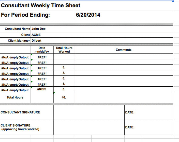 Consultant Timesheet Template Download Free  Premium Templates