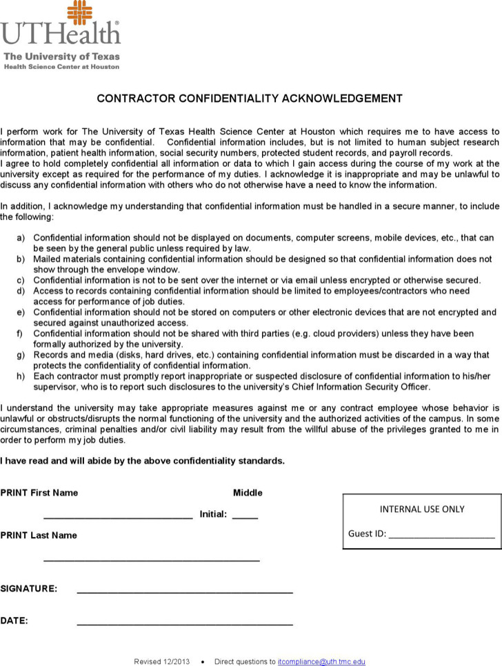 Contractor Confidentiality Agreement Download Free \ Premium - contractor confidentiality agreement