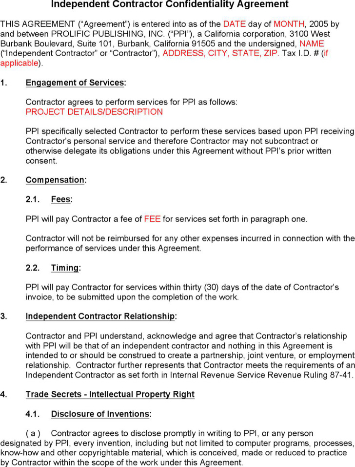 Confidentiality Agreement Templates Download Free \ Premium - contractor confidentiality agreement